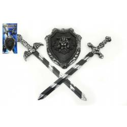 Rytířská sada 2 meče a štít plast 56cm na kartě
