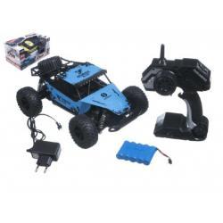 Auto RC buggy velká kola plast 27cm 24MHz na baterie + dobíjecí pack asst 2 barvy v krabici 38x20x23