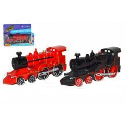 Lokomotiva/Vlak plast/kov 15cm asst 2 barvy na baterie v krabičce