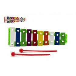 Xylofon kov/plast + 2 paličky 26cm asst 3 barvy v sáčku