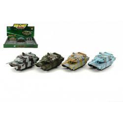 Tank kov/plast 9cm asst 4 barvy 12ks v boxu