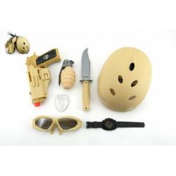 Vojenský set s helmou plast 7ks v síťce