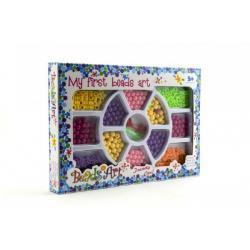 Korálky plast 0,5cm 2 barvy v krabici 26x18cm