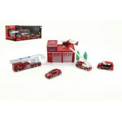 Sada hasičská stanice/garáž plast 8ks asst 3 druhy v krabici 34x15cm