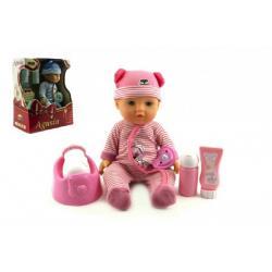 Panenka miminko Agusia plast 27cm pijící čůrající s doplňky asst 2 barvy  v krabici