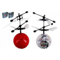 Vrtulníková koule Heli ball plast 13x11cm s USB kabelem na nabíjení asst 2 barvy v krabičce