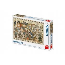 Puzzle Rvačka v hospodě Josef Lada 66x47cm 1000 dílků v krabici 32x23x7,5cm