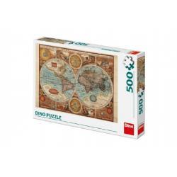 Puzzle Mapa Světa 47x33cm 500 dílků v krabici 33x23x3,5cm