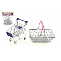 Nákupní košík a vozík 2ks kov 15cm asst v sáčku