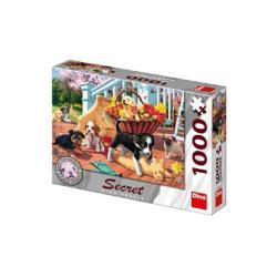 Puzzle štěňata 14 skrytých detailů 1000 dílků 66x47cm v krabici 32x23x7,5cm