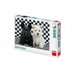 Puzzle dva pejsci černobílé 47x33cm 500 dílků v krabici 33,5x23x3,5cm