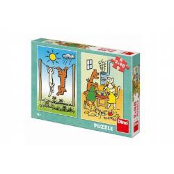 Puzzle Pejsek a Kočička 2x48 dílků 18x26cm v krabici 27x19x4cm