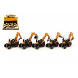 Traktor stavební kov/plast 15cm mix druhů na zpětné natažení 6ks v boxu