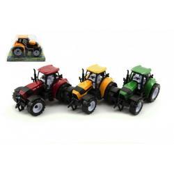 Traktor plast 17cm na setrvačník asst 3 barvy v blistru