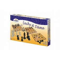 Šachy a dáma dřevěné figurky a kameny společenská hra v krabici 35x23x4cm