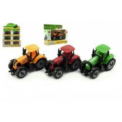 Traktor kov/plast 10cm asst 3 barvy v krabičce volný chod 12ks v boxu