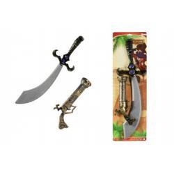 Meč/Šavle pirátská + pistole klapací plast 58cm na kartě