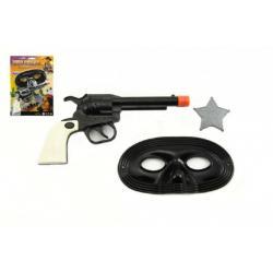 Pistole/Kolt klapací + šerifská hvězda a škraboška plast 18cm na kartě