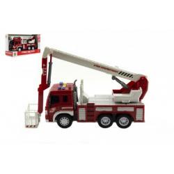 Auto hasiči plast 28cm na baterie se světlem se zvukem v krabici 33x19x12cm