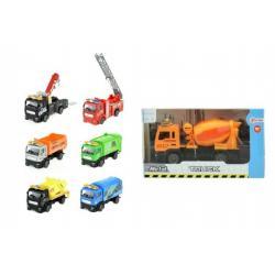 Auto nákladní kov/plast 12cm na zpětné natažení asst 8 druhů v krabičce