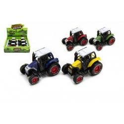 Traktor kov/plast 9cm na zpětný chod asst 4 barvy 6ks v boxu
