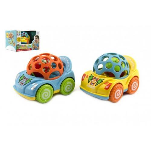 Auto s chrastítkem plast 10cm asst 2 barvy v krabičce 18x12x14cm 12m+