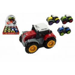 Traktor převracecí plast 10cm mix barev na baterie 12ks v boxu