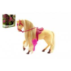 Kůň s hřívou česací s doplňky plast 28cm asst 2 barvy v krabici
