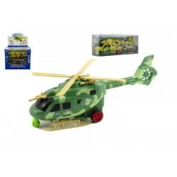 Vrtulník/Helikoptéra plast 25cm na baterie se světlem se zvukem asst 2 barvy v krabičce 8ks v boxu
