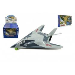 Letadlo/stíhačka plast 25cm na baterie se světlem se zvukem asst 2 barvy v krabičce 6ks v boxu