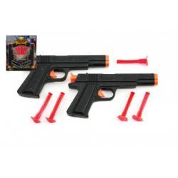 Pistole na přísavky 2ks policie plast 18cm na kartě
