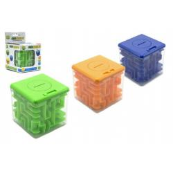 Pokladnička s hlavolamem pro otevření plast 8x8cm asst 3 barvy v krabičce