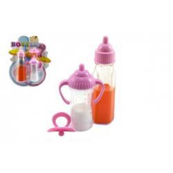 Kojenecká lahvička pro panenky 2ks + dudlík 12cm plast na kartě