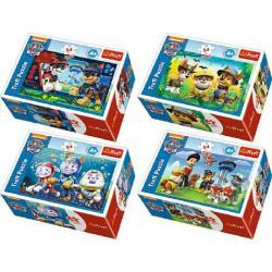 Minipuzzle 54 dílků Paw Patrol/Tlapková Patrola 4 druhy v krabičce 9x6x3cm 40ks v boxu