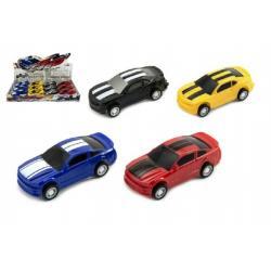 Auto plast 7cm asst 4 barvy na zpětné natažení 12ks v boxu