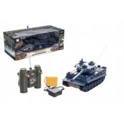 Tank RC plast 33cm TIGER I na baterie+dobíjecí pack 40MHz se zvukem a světlem v krabici 40x15x19cm