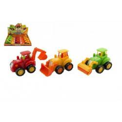 Traktor/Stavební stroj plast 13cm asst 3 druhy na setrvačník 12ks v boxu
