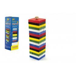 Hra Jenga věž 54 barevných dílků dřevo v krabičce 8x25cm