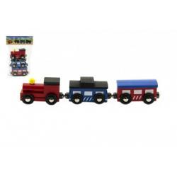Vláček s vagóny na magnety 3ks 7cm dřevo v sáčku