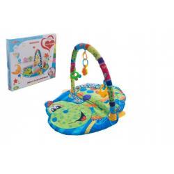 Hrací podložka/Hrazda pro děti a chrastítky plast/plyš v krabici 55x49x7cm 0m+