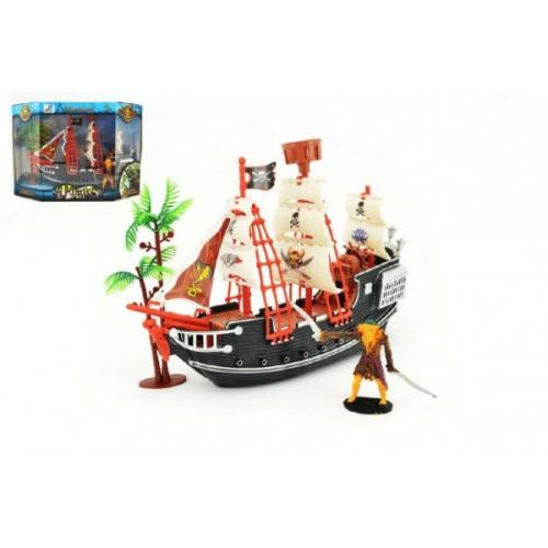 Pirátská loď s doplňky plast 25cm v krabici 30x21x10cm