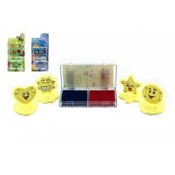Razítka 4ks s poduškou plast 3cm asst mix druhů na kartě 24ks v boxu