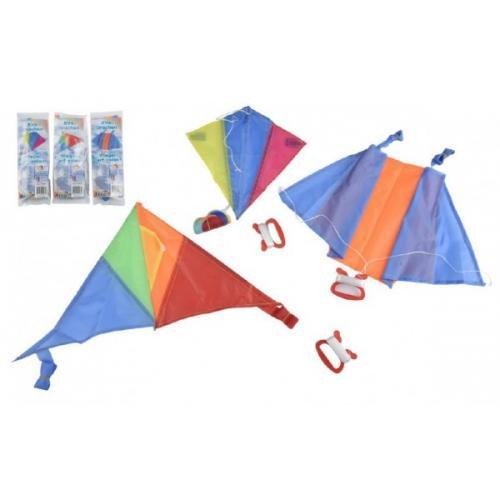 Drak létající nylon 45x25cm/25x28cm/46x28cm barevný v sáčku 36ks v boxu