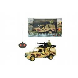 Auto RC vojenské na dálkové ovládání 27MHz plast 20cm na baterie se světlem asst 2 druhy v krabici