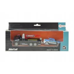 Auto nákladní/odtahovka 2ks kov 18cm na zpětné natažení asst 2 druhy v krabičce 24x11x5cm