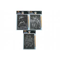 Škrabací obrázek stříbrný asst 14x22cm 24ks v boxu