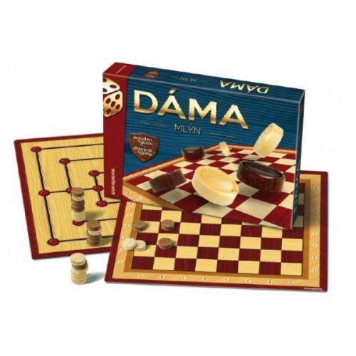 Dáma + mlýn dřevěné kameny společenská hra v krabici 33x23x4cm