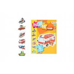 Puzzle zvířátka dopravní prostředky 6ks v krabici 14x19x4cm 18m+