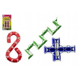 Magický had hlavolam plast asst 3 barvy na kartě 14x24x3cm