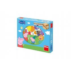 Kostky dřevěné kubus Prasátko Peppa 12ks v krabičce 22x17x4cm